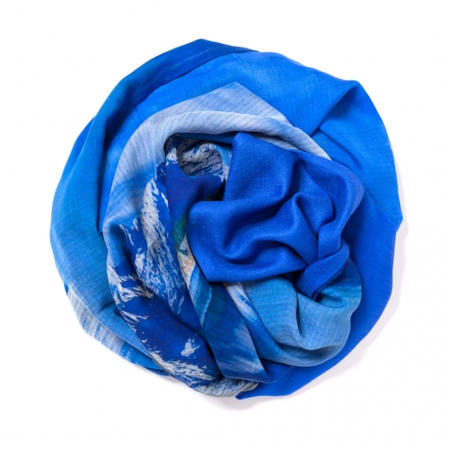 Royal blue Pashmina  with digital printed silk chiffon attached on one side of the scarf
