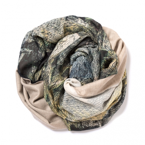 Dark natural Pashmina  with digital printed silk chiffon attached on one side of the scarf