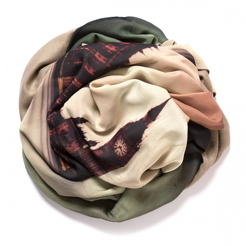 Grey-beige colored pashmina with digital printed silk chiffon (London) attached on one side of the scarf, size: 1x2m
