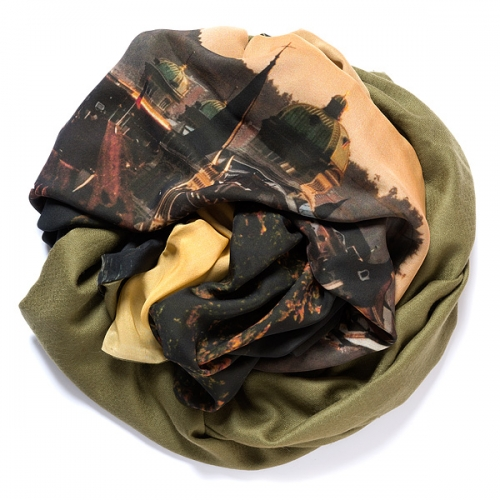 Olive green colored pashmina with digital printed silk chiffon (Berne) attached on one side of the scarf, size: 1x2m